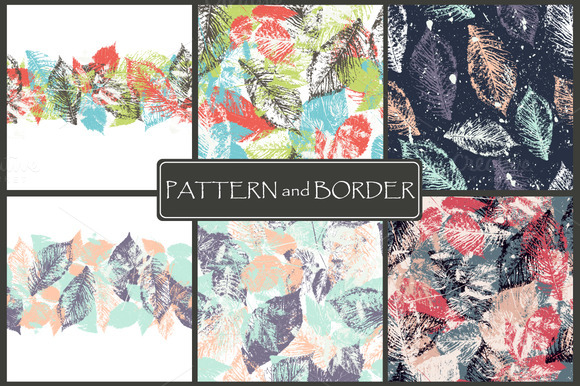 Forest leafs.Seamless border+pattern - Patterns