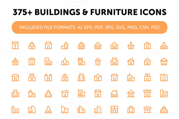 375 Buildings And Furniture Icons