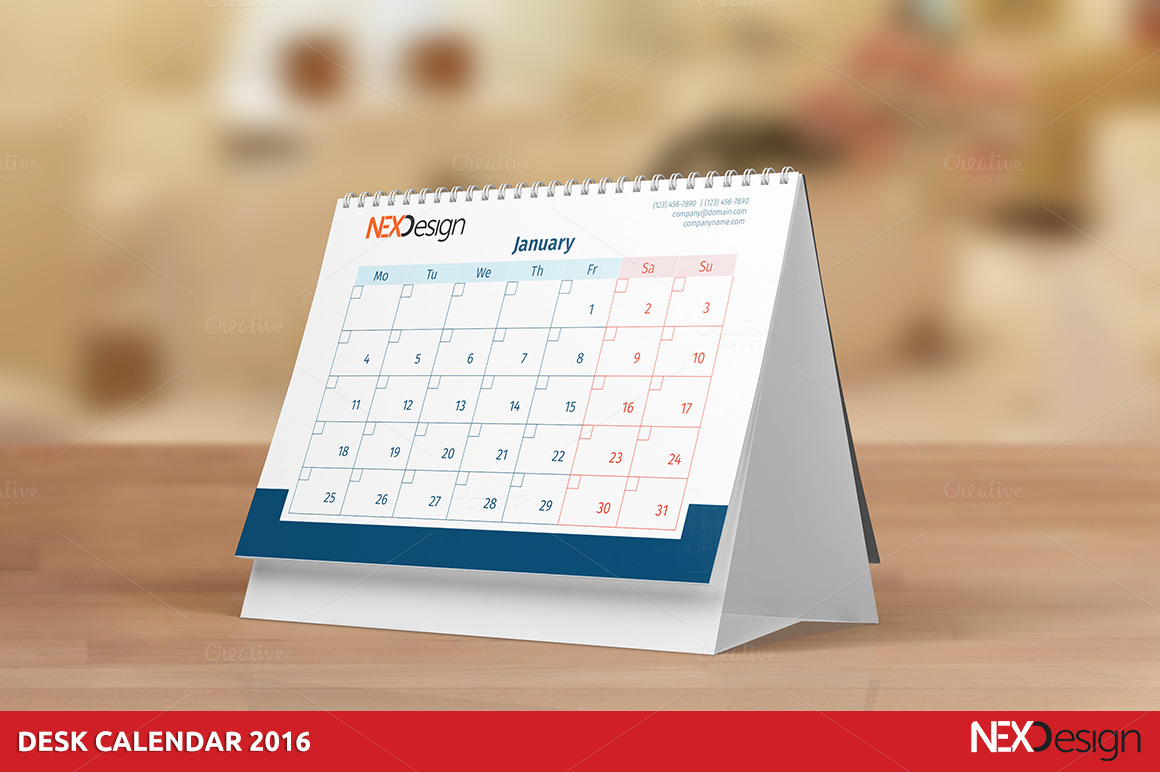Desk Calendar Design : Desk calendar stationery templates on creative market