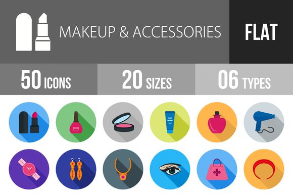50 Makeup Accessories Flat Shadowed