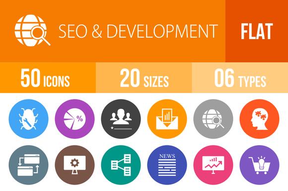 50 SEO Development Flat Round Icons