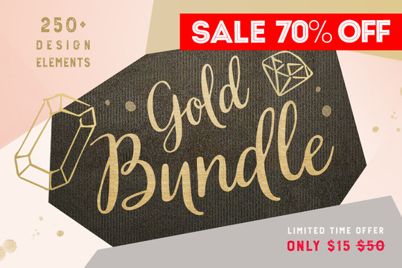 Gold clipart BUNDLE 250+ 451475