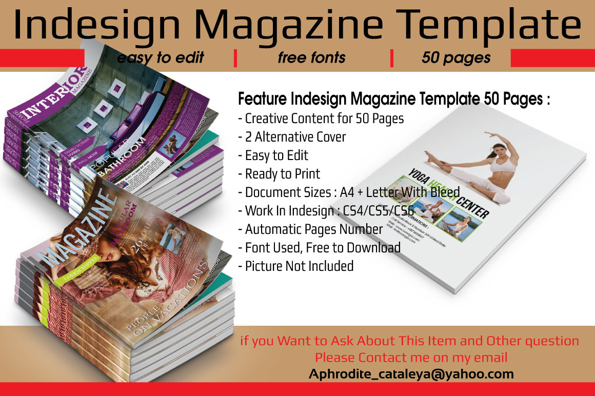 indesign magazine template 50 pages magazine templates on creative market. Black Bedroom Furniture Sets. Home Design Ideas