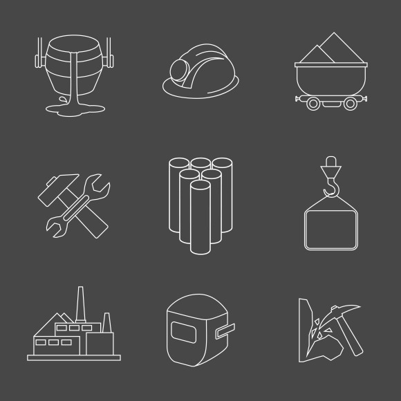Vector Set Of Heavy Industry Icons