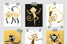 Chinese New Year monkey vector decor