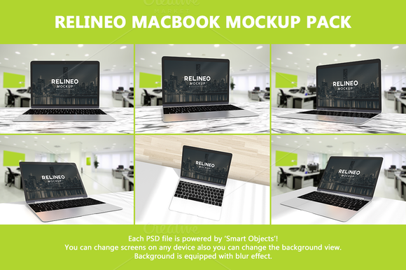 Relineo Macbook Mockup Pack #1