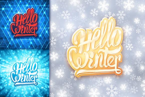 Hello winter. Vector banners set - Illustrations