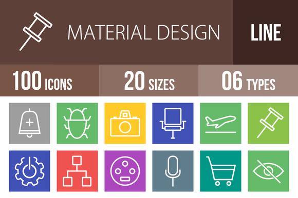 100 Material Design Line Multicolor
