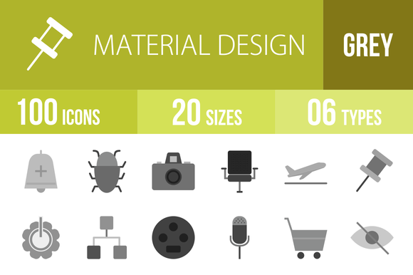 100 Material Design Greyscale Icons