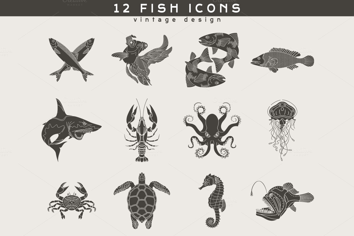 12 Fish Logos ~ Icons on Creative Market