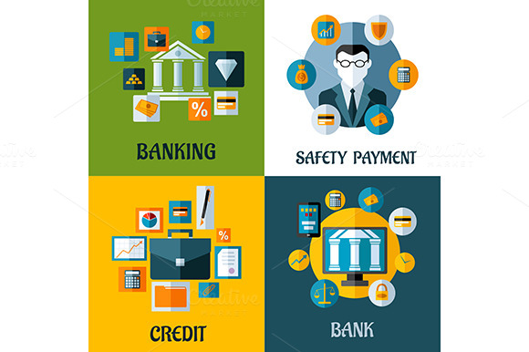 Set Of Banking And Financial Flat De