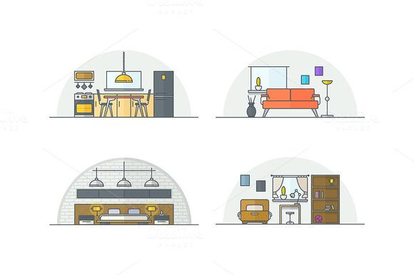 Interior design. Line illustrations. - Illustrations