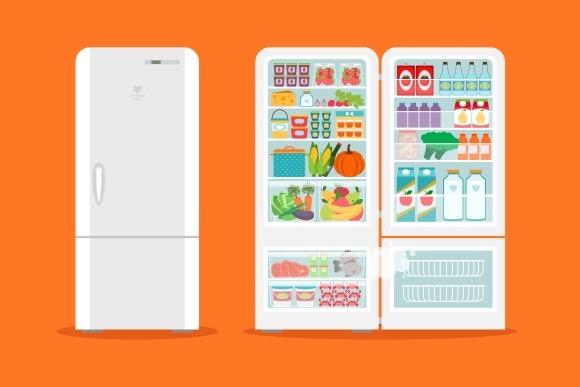 Full Of Food Opened Refrigerator