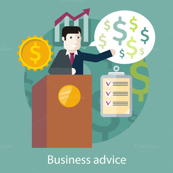 Business Advice. Speaker on Podium - Illustrations