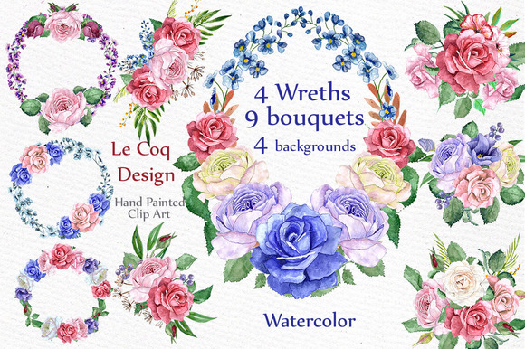 Watercolor Wreaths Clip Art