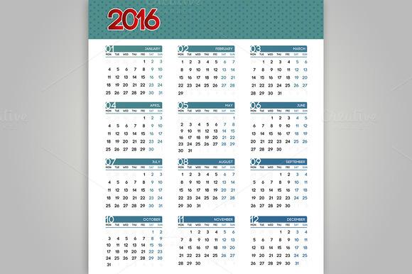 2016 Calendar set. Vector. - Objects