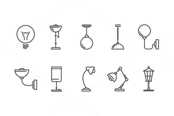 Lamp Line Icons