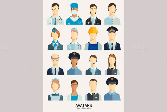 Set of avatar icons. Professions. - Icons