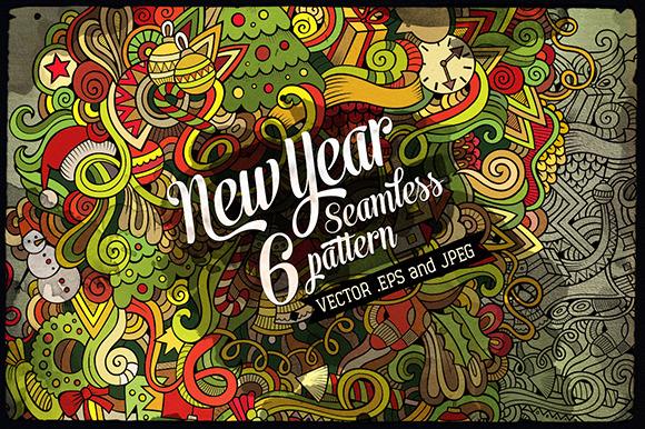 6 New Year Seamless Patterns