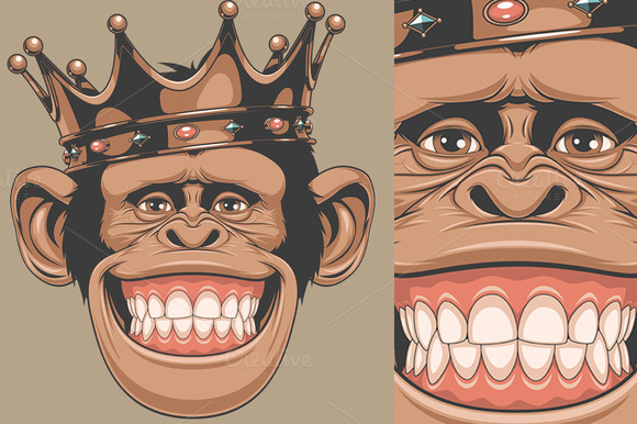 A monkey sitting on a throne wearing a crown Clip Art ... |Monkey King Crown