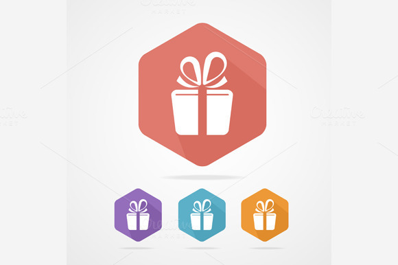 Gift Gox Sign Icon Set Present