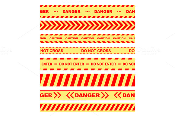Warning Danger And Caution Tapes Or