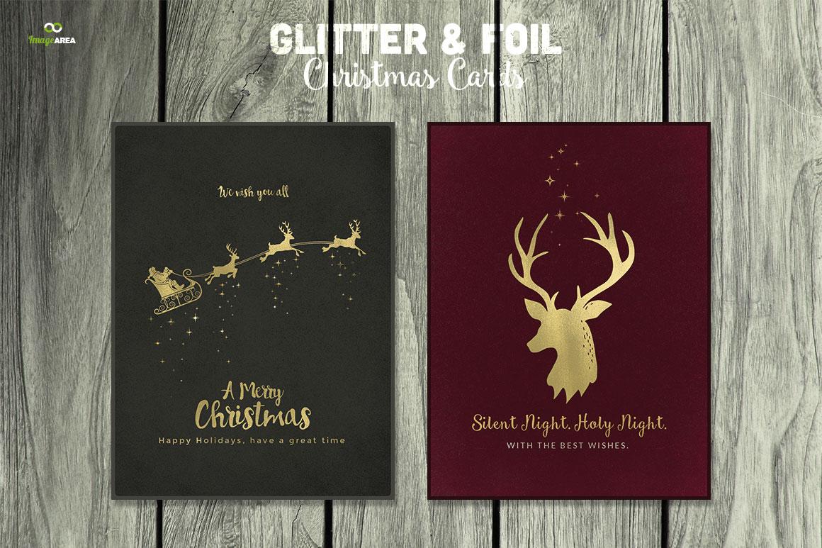9 glitter  u0026 foil christmas cards psd