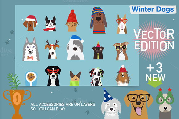 Winter Dogs Vector Edition