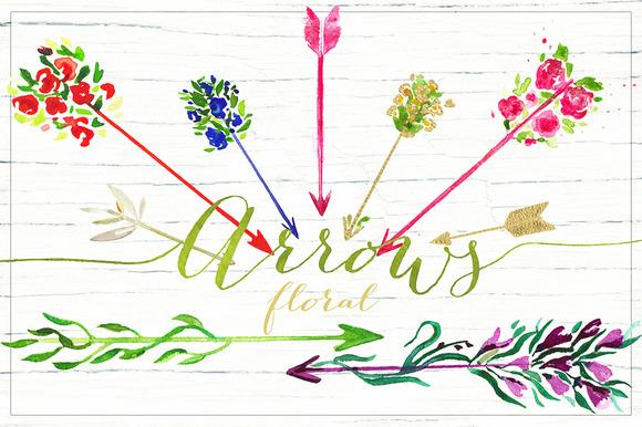 Arrows floral. Valentine clipart. - Illustrations