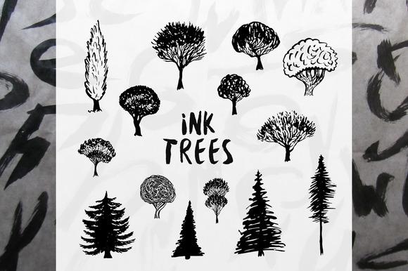 Ink Trees Vector Set