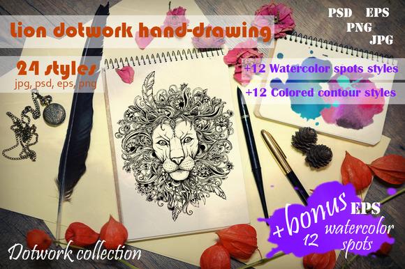 Ornamental Lion Dotwork Hand-drawing
