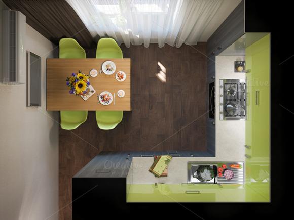 Design interior kitchen. 3D render - Illustrations