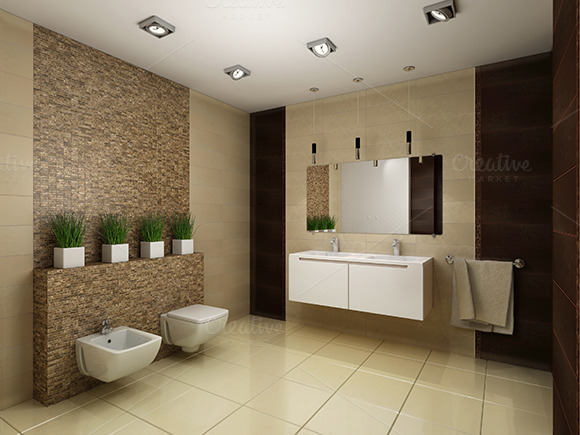 3D Render Of The Modern Bathroom