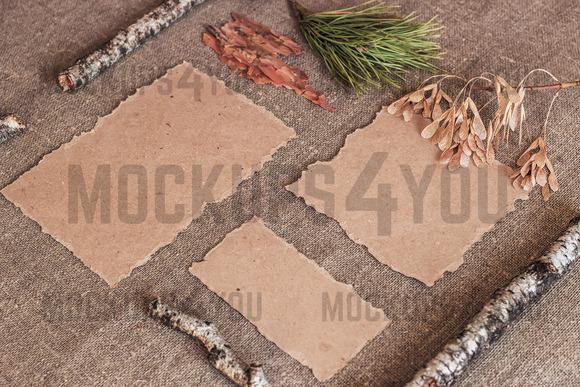 Mockup. Kraft paper on sackcloth. - Product Mockups
