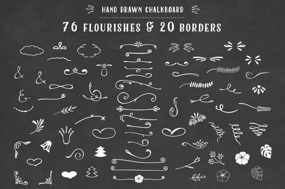 Chalkboard Florishes Borders Clipart
