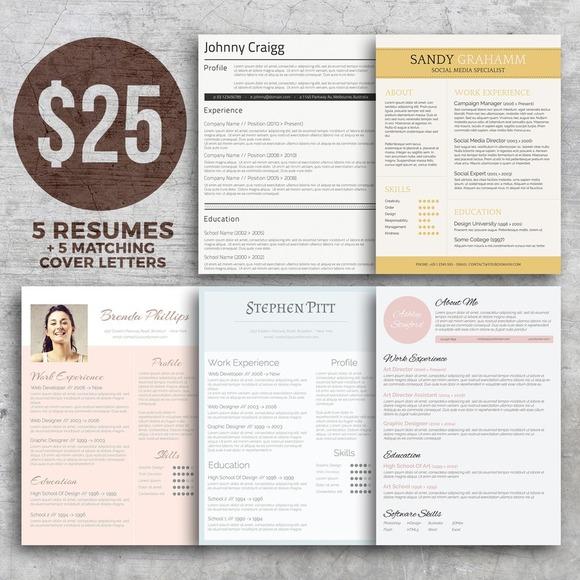 resume bundle get noticed resume templates on