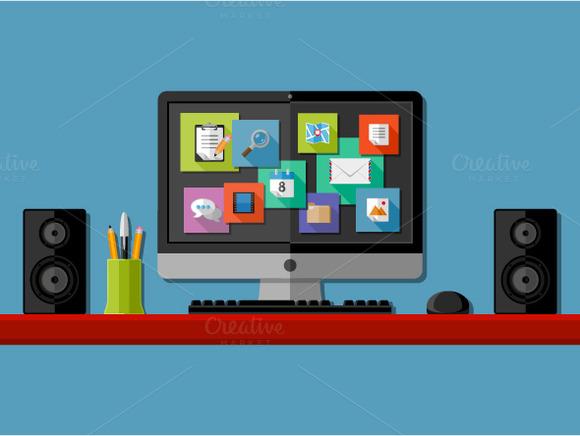 Computer workplaces. Flat design - Illustrations