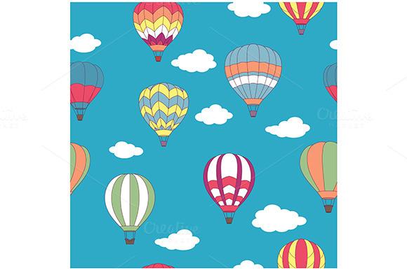 Hot Air Balloons Seamless Pattern