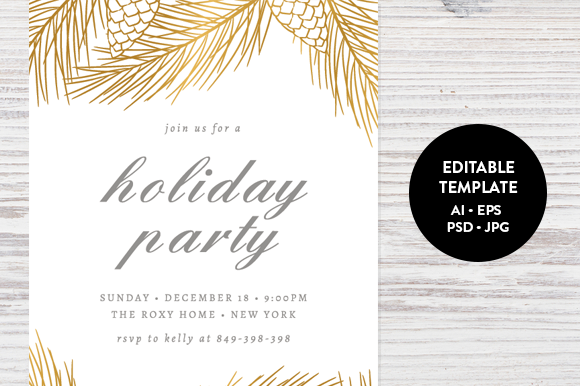 Modern Christmas Invitation Template Free Yaseen for – Christmas Party Template Invitations Free