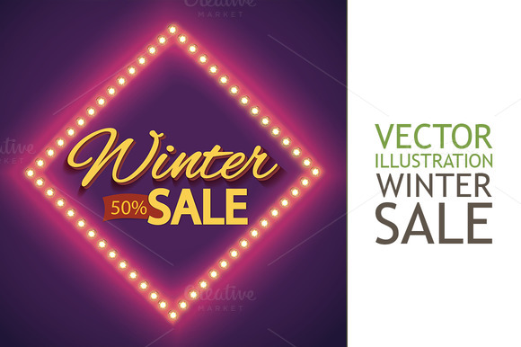 Winter Sale With Purple Lights