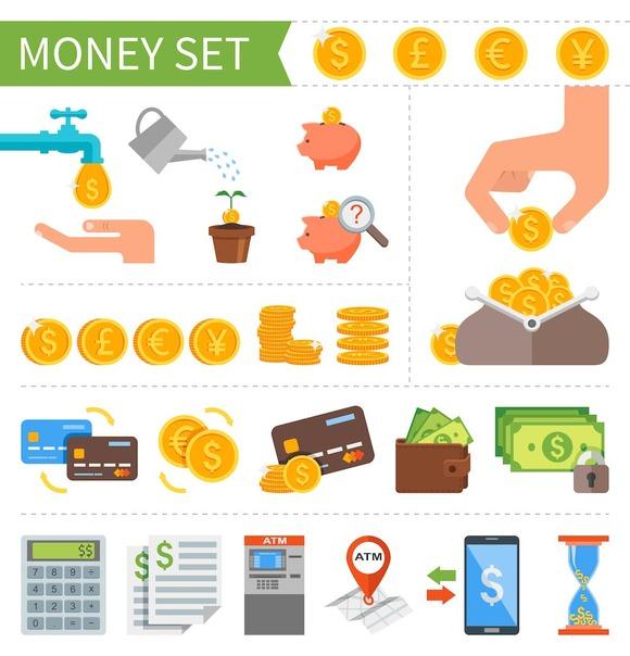 Money & Finance. Flat icons set. - Icons