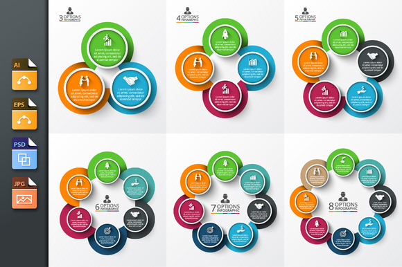 6 Circles Diagrams For Infographic