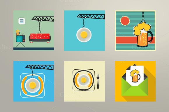 Set Illustration Food And Recreation