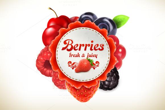 Berries Vector Label