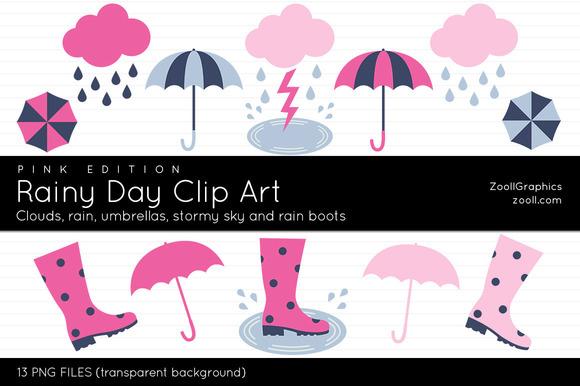 Rainy Day Clip Art Pink