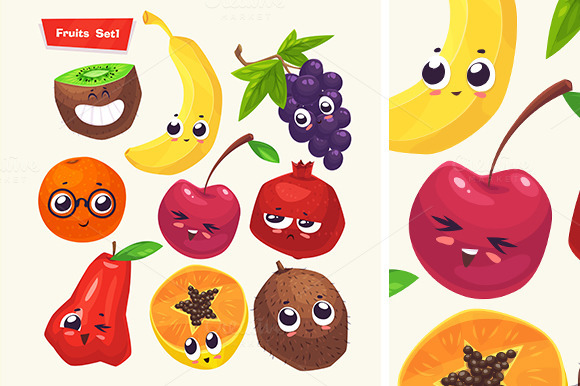 Set Of Funny Cute Fruits