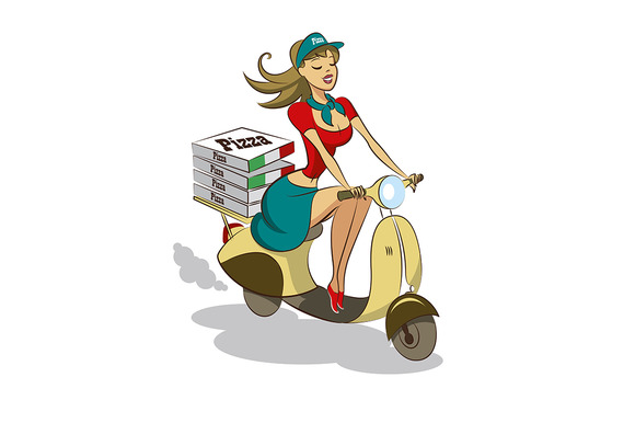 Pizza. Woman. Scooter - Illustrations