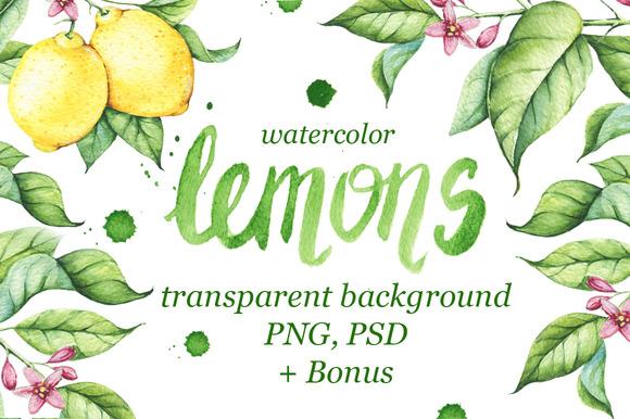 Watercolor Lemons Set