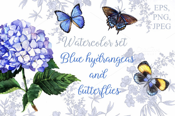 Blue Hydrangeas And Butterflies