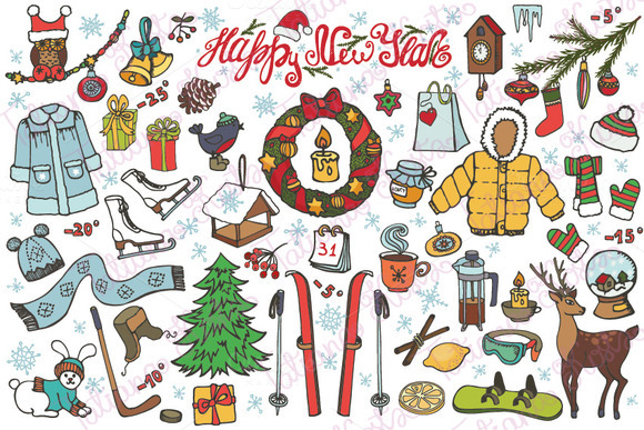 New year season.Doodle elements - Illustrations